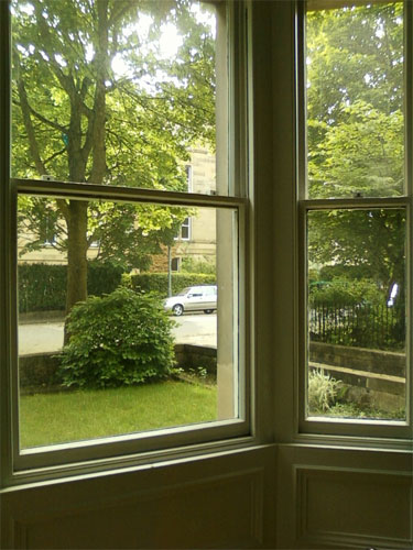 View to front garden from bay window