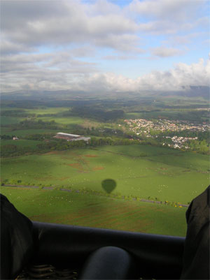 View from the air of Midlothian and the shadow of Alba Ballooning's hot air balloon