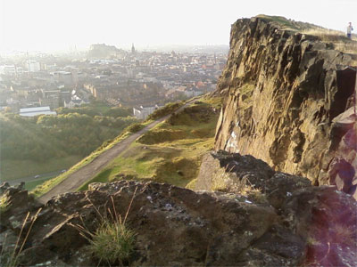 View of Edinburgh Castle from Salisbury Crags