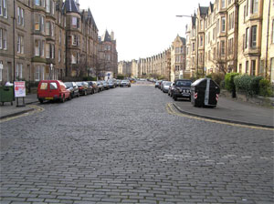 Warrender Park Road joining Marchmont Crescent